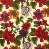 Vorhangpaar (140x215cm, Bmw.) mit großen Dahlien und Chrysanthemen