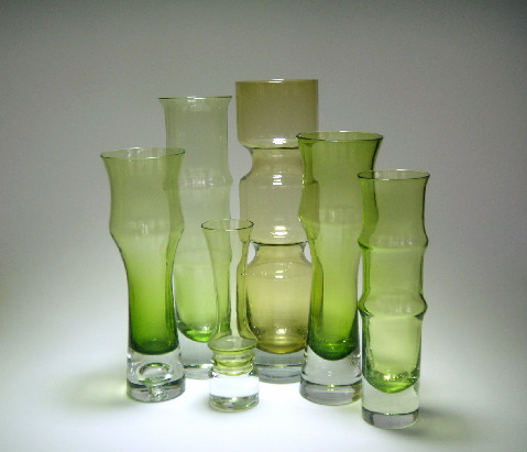 green vases by Bo Borgstrom for Aseda
